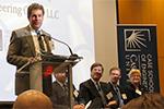Jeffrey Herzog, President of Nexus Engineering Group, moderating the Oil & Gas Forum at CWRU.