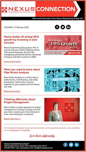 Click this to download a pdf of Nexus' latest newsletter.