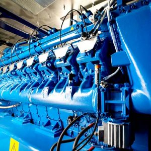 Blue diesel and gas engine powering a CHP Power System