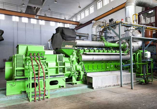 A diesel generator at a power generation plant