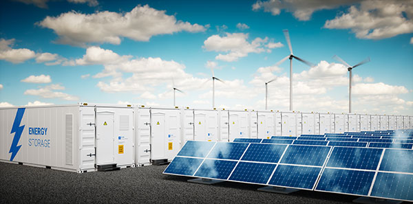a lithium battery system storing intermittent solar and wind energy