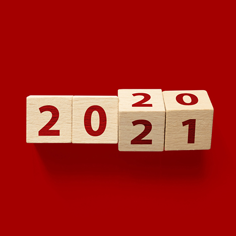 2021 on red background