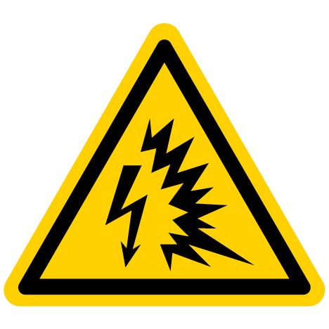 Yellow Electrical Shock Warning Sign